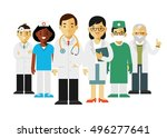 medicine set with doctors and... | Shutterstock .eps vector #496277641