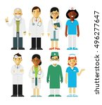 medicine set with doctors and... | Shutterstock .eps vector #496277647