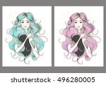 beautiful fashion women with... | Shutterstock .eps vector #496280005