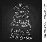cake doodle cartoon art... | Shutterstock .eps vector #496281829