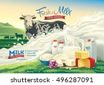 vector illustration with a cow  ... | Shutterstock .eps vector #496287091