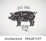 graphic silhouette of a pig... | Shutterstock .eps vector #496287157
