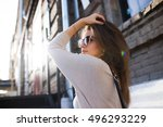 young pretty woman outdoor... | Shutterstock . vector #496293229