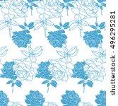 floral seamless pattern. vector ... | Shutterstock .eps vector #496295281