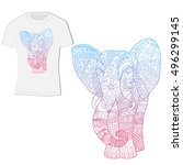 t shirt design with an elephant | Shutterstock .eps vector #496299145