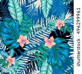 vector seamless dense tropical... | Shutterstock .eps vector #496299961