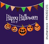 pumpkin lanterns with flags ... | Shutterstock .eps vector #496302151