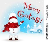 cute  funny  little snowman... | Shutterstock .eps vector #496304131