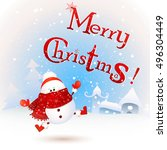 cute  funny   baby christmas... | Shutterstock .eps vector #496304449