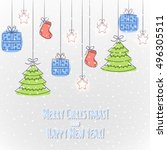 hand drawing christmas greeting ... | Shutterstock .eps vector #496305511