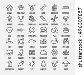 Stock vector set of pet icons in modern thin line style high quality black outline farm animal symbols for web 496307857