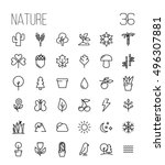 set of nature icons in modern... | Shutterstock .eps vector #496307881