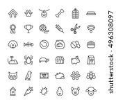 Stock vector set of pet icons in modern thin line style high quality black outline farm animal symbols for web 496308097
