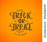 trick or treat lettering... | Shutterstock .eps vector #496308349