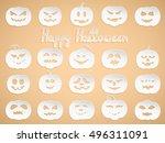 set of 20 white pumpkins for...   Shutterstock .eps vector #496311091