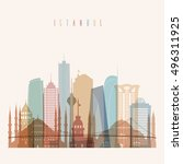 transparent styled istanbul... | Shutterstock .eps vector #496311925
