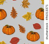 seamless pattern with autumn... | Shutterstock .eps vector #496313371