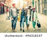 happy multiracial friends...   Shutterstock . vector #496318147