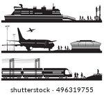 travelers in airport terminal ... | Shutterstock . vector #496319755