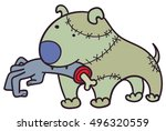 vector zombie dog with a human... | Shutterstock .eps vector #496320559