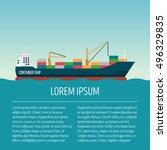 vector seaway ocean delivery... | Shutterstock .eps vector #496329835