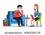 broken businessman talking to... | Shutterstock .eps vector #496334119