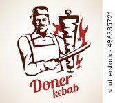 asian chef preparing doner... | Shutterstock .eps vector #496335721