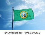 state of washington flag on the ... | Shutterstock . vector #496339219