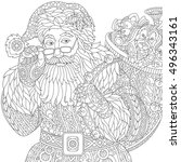 stylized christmas santa claus... | Shutterstock .eps vector #496343161