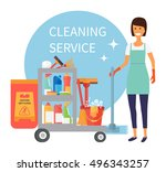 cleaning staff  janitor with... | Shutterstock .eps vector #496343257