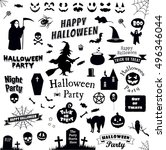 halloween party icons set.... | Shutterstock .eps vector #496346044