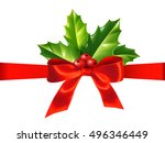 red silky ribbon with bow and... | Shutterstock .eps vector #496346449