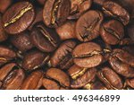 coffee beans closeup on natural ... | Shutterstock . vector #496346899