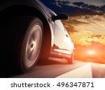 the car on the road with motion ... | Shutterstock . vector #496347871