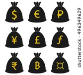money bag currency icons set.