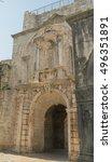 korcula town gate old town ... | Shutterstock . vector #496351891