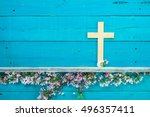 wood cross hanging on antique...   Shutterstock . vector #496357411