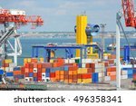port cargo crane and container... | Shutterstock . vector #496358341