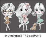 fashion and cute girl graphic... | Shutterstock .eps vector #496359049