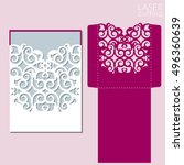 die laser cut wedding card...   Shutterstock .eps vector #496360639