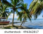 boats on beach at caribbean... | Shutterstock . vector #496362817