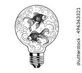 vector black and white goldfish ... | Shutterstock .eps vector #496363321