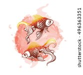 vector color goldfish... | Shutterstock .eps vector #496363351