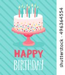 birthday card hand drawn style. ... | Shutterstock .eps vector #496364554