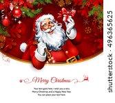 vector vintage christmas... | Shutterstock .eps vector #496365625