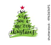 we wish you a merry christmas.... | Shutterstock .eps vector #496365691