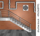 metal stairs on a red brick... | Shutterstock .eps vector #496368991