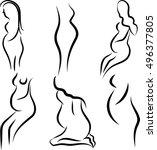 pregnant women silhouette... | Shutterstock .eps vector #496377805