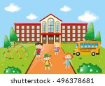 students and school bus at... | Shutterstock .eps vector #496378681