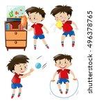 boy in red shirt doing... | Shutterstock .eps vector #496378765